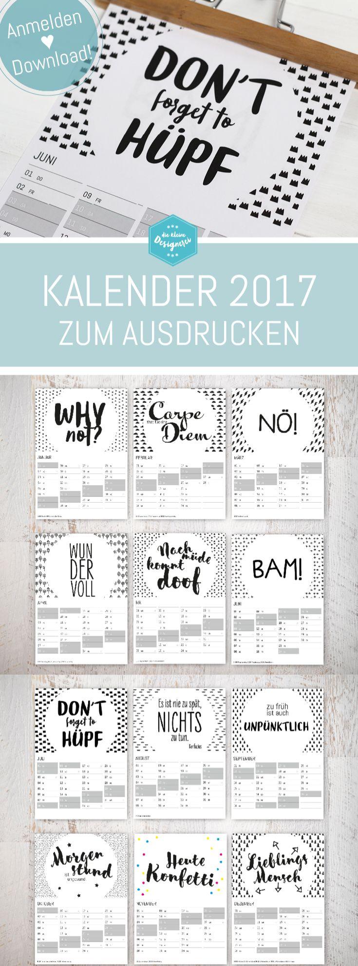 Wandkalender als A4 Printable, zum free download auf www.die-kleine-designerei.com