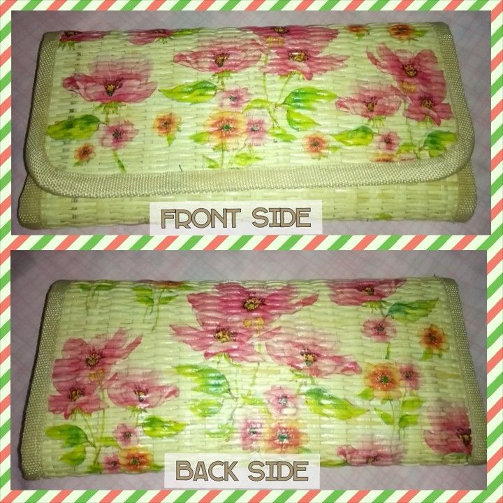 Flowery decoupage on rattan wallet