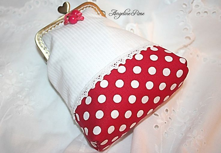 Red and white polka dot purse, polka dot clutch, unique clutch, cute unique purse, angeline rose purse, handmade gift, makeup bag by AngelineRosePurse on Etsy