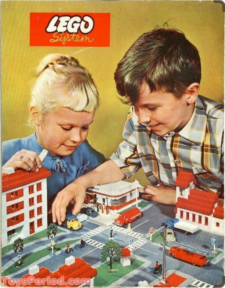 1960s Lego set box lid illustration