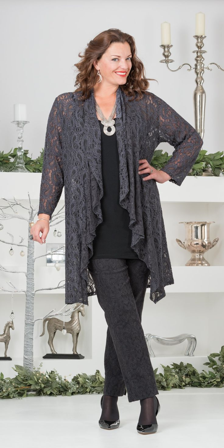 Kasbah slate grey lace waterfall jacket, vest and trouser