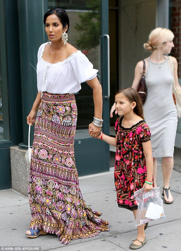 Twinning! Padma Lakshmi and her daughter Krishna bonded in their matching patterns and traditional bindis while in Manhattan on Saturday