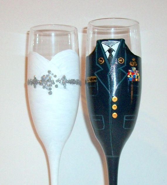 These will be painted and shipped in January 2015    These are beautiful champagne flutes that I designed for a customer who wanted a set of