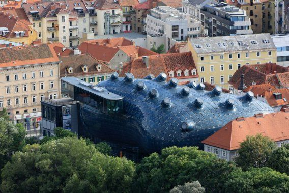 The Kunsthaus Graz in Graz, Austria has almost 900 fluorescent bulbs that can display rough images and animations.