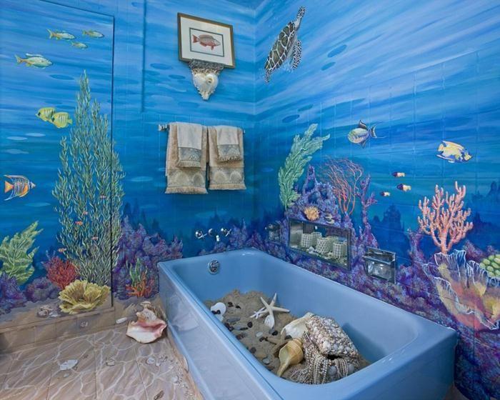Exciting Bathroom Wall Decor Ideas With Sea Theme