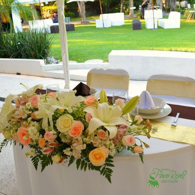 centro de mesa para novios flores bodas quinta pavo real del rincn