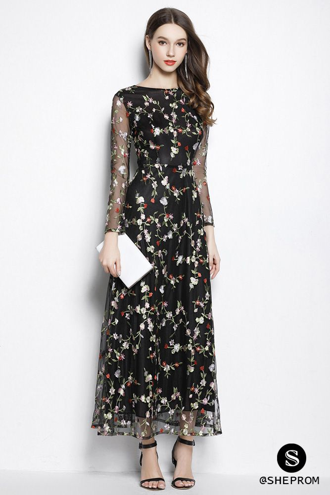 Black Round Neck Sheer Sleeve Embroidery Party Dress Party Dress Long Sleeve Party Dress Long Party Dresses With Sleeves