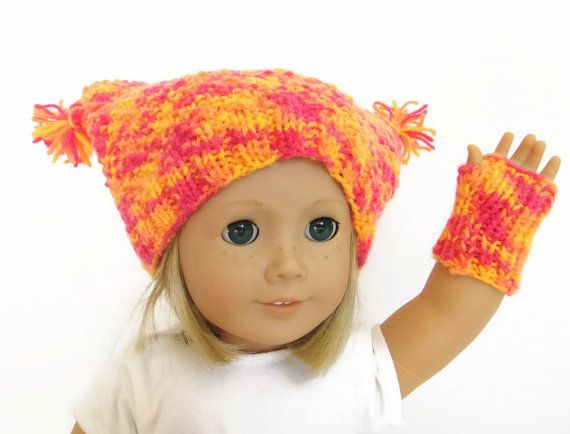 Knit Doll Hat  Knit Doll Fingerless Gloves  18 by PreciousBowtique