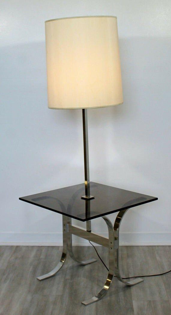 Mid Century Modern Chrome Smoked Glass Floor Lamp Table Laurel Etsy In 2021 Glass Floor Lamp Floor Lamp Table Floor Lamp