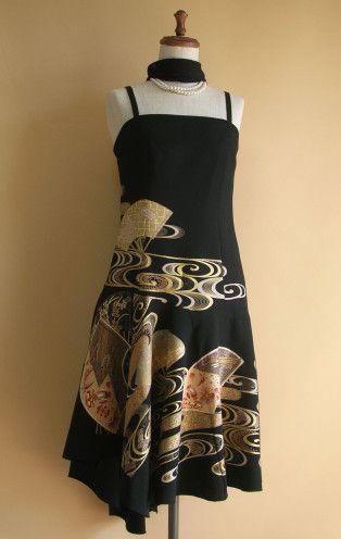 no.1242   ショートドレス   着物ドレス 和ドレス 着物リメイク オーダードレス -YOKO YOSHIOKA-