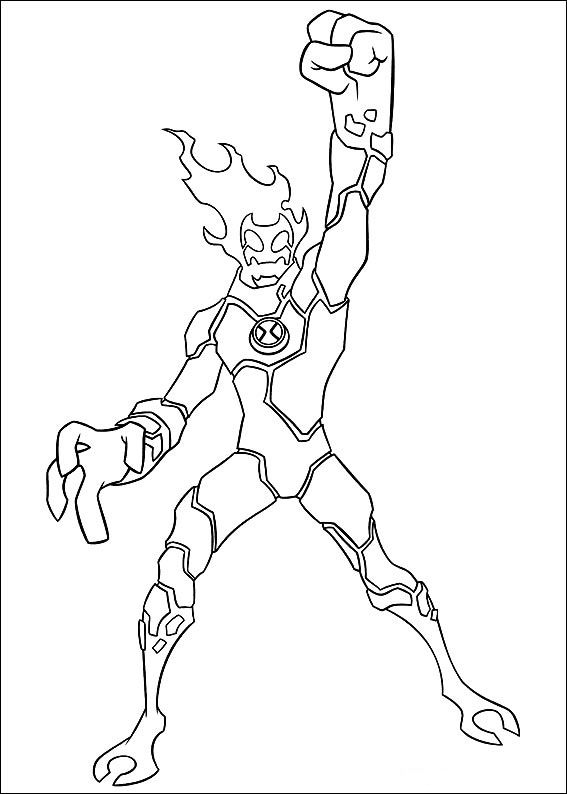 Ben 10 Changed Man Fire Coloring Pages For Kids Printable