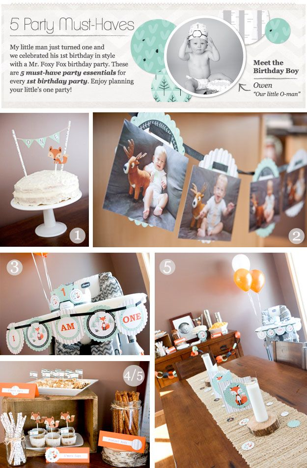 5 Must-Haves For First Birthday Parties | Party Ideas with a Fox theme #FirstBirthdayParty