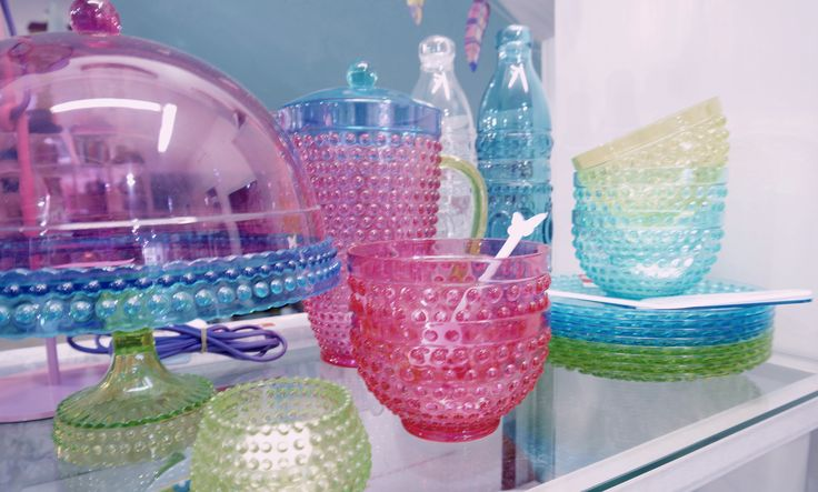 Beautiful and bright acrylic dinnerware by Rhubarb.