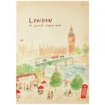 Travel journal notebook with a London themed front cover I from eggcup & blanket
