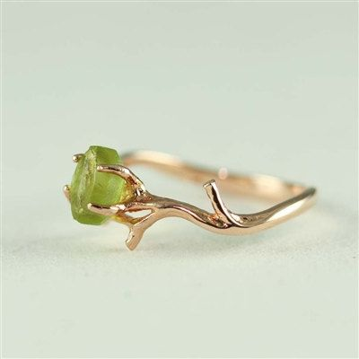 Unique Branch and Natural Peridot Ring door 4FireflyCollections, $60.00
