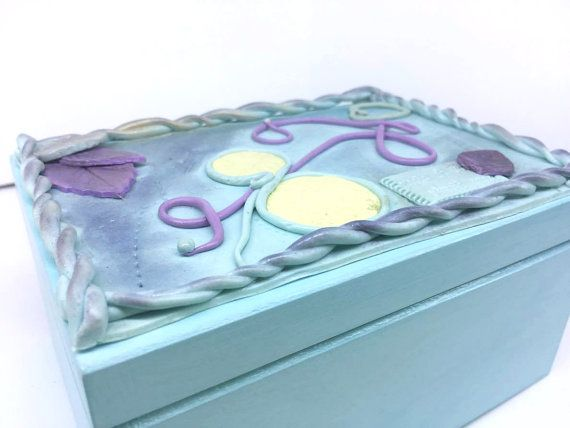 light blue jewerly box for daughter hand painted by VictoriaArtPL