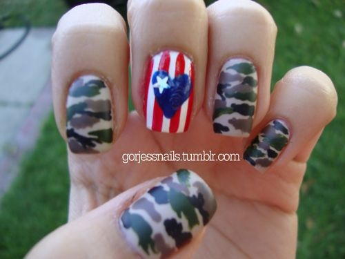 Memorial Day Nails, replace middle and swap out army camo for navy - 170 Best Nails Images On Pinterest Camouflage Nails, Camo Nail