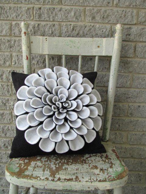 Decorative Pillow Pattern DANIELLA DAHLIA Felt Flower Throw Pillow Pattern with 2 Bonus Pillow Covers Tutorial PDF ePattern How To