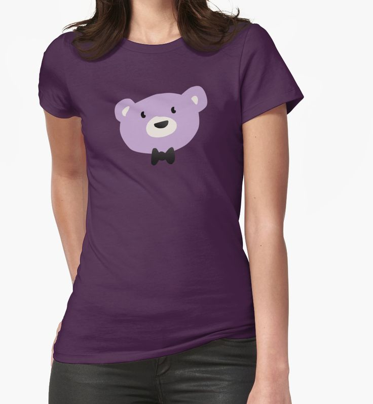 Simple cute bow tied bear- purple women t-shirt by Hopeonedayarts on Redbubble