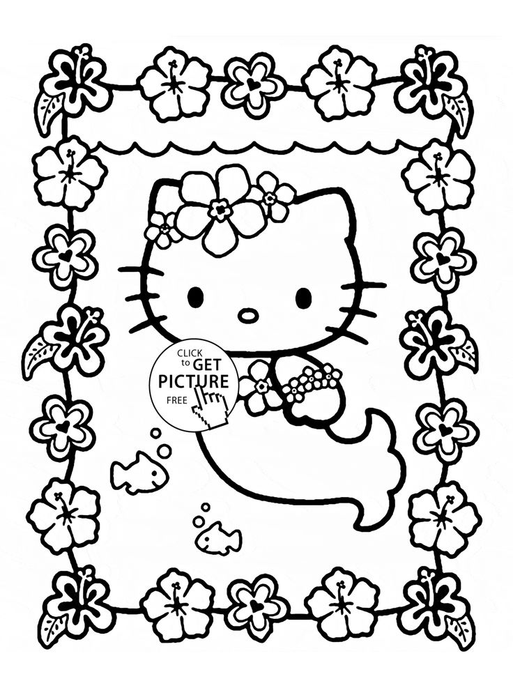 Hello Kitty is mermaid coloring