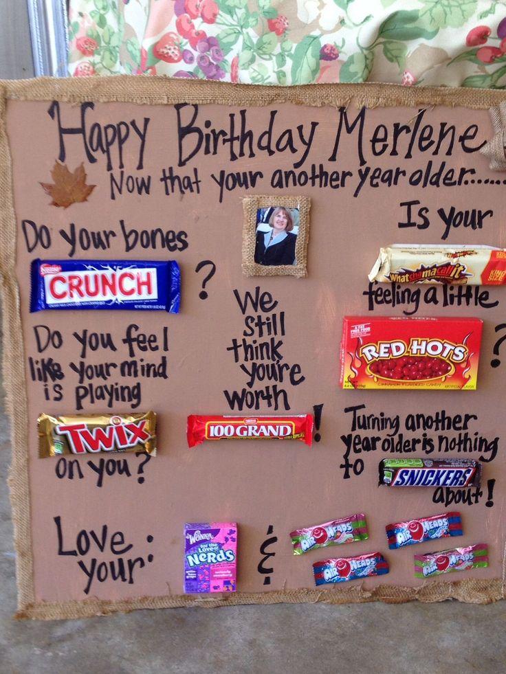 80th Birthday Gift Ideas for Men Birthday Candy Bar Poem