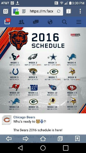 Chicago Bears 2016 game schedule!