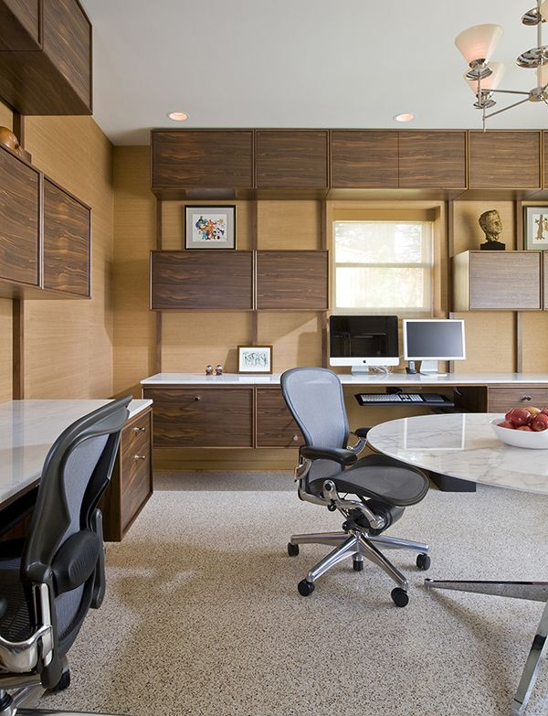 custom floating desks inspired by midcentury classics provide ample computer space for two home office designoffice designsoffice ideasfloating deskmodern