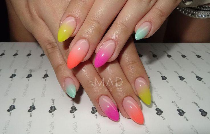 SPN Nails Kolorowe ombre Neon papaya, wild lemon, UV painting 04, 09