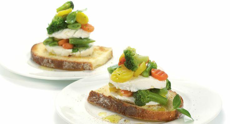 Caprese alle verdure e vinaigrette all'aneto