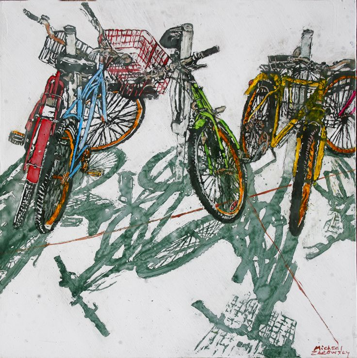 "lido bikes (102)   24"" x 24"" x 1 3/4""  micheal zarowsky / Mixed media (watercolour / acrylic painted directly on gessoed birch panel)  Available $1580.00"
