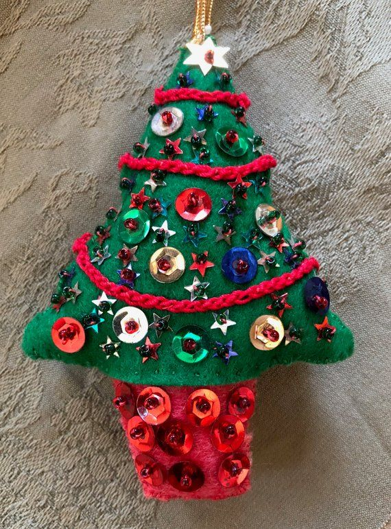 Vintage Hand Made Christmas Tree Ornament Decorated With Sequins Christmas Decoration T Diy Christmas Ornaments How To Make Christmas Tree Vintage Ornaments
