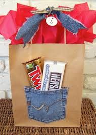 unique wrapping paper - Fun to do with brown paper bag, old kids jeans, and you could put a gift certificate or money in the pocket.
