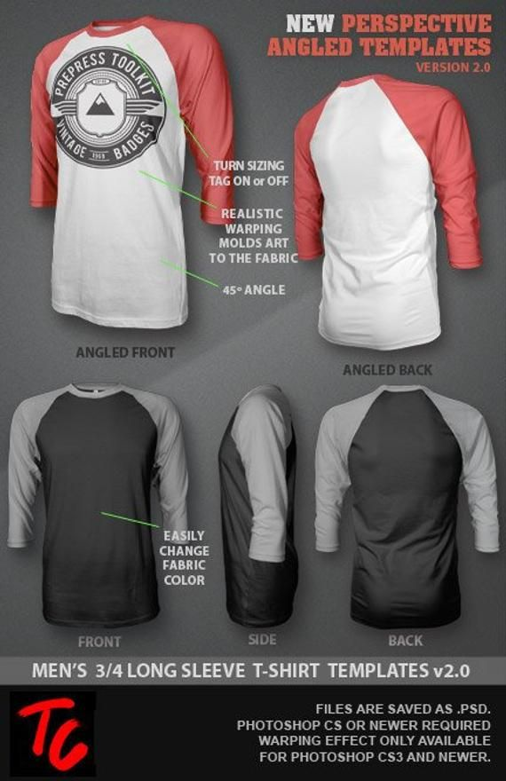 Ghosted 3 4 Long Sleeve Raglan T Shirt Template Mockup Psd