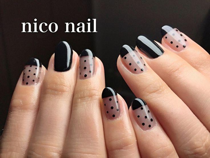 浜松市 中区 自宅ネイルサロン nico nail ニコネイル:クールなシースルーネイル、ポイントにドット柄を…