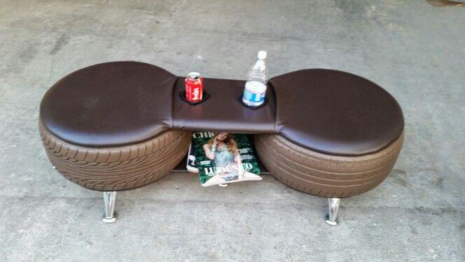 Asiento doble hecho con llantas reciclada rfashion house - Asientos para sofas ...