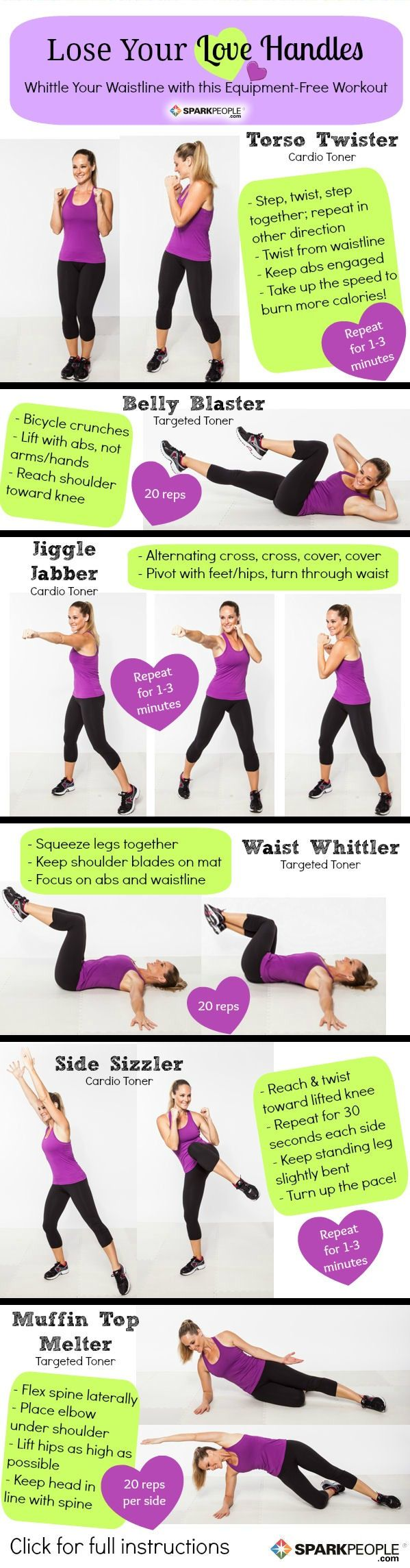 Lose Your Love Handles with these great exercises from SparkPeople. The Muffin Top Melter is a tough one!