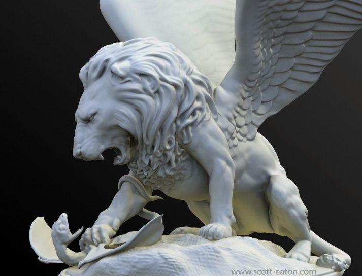 Winged lion tattoo - photo#22