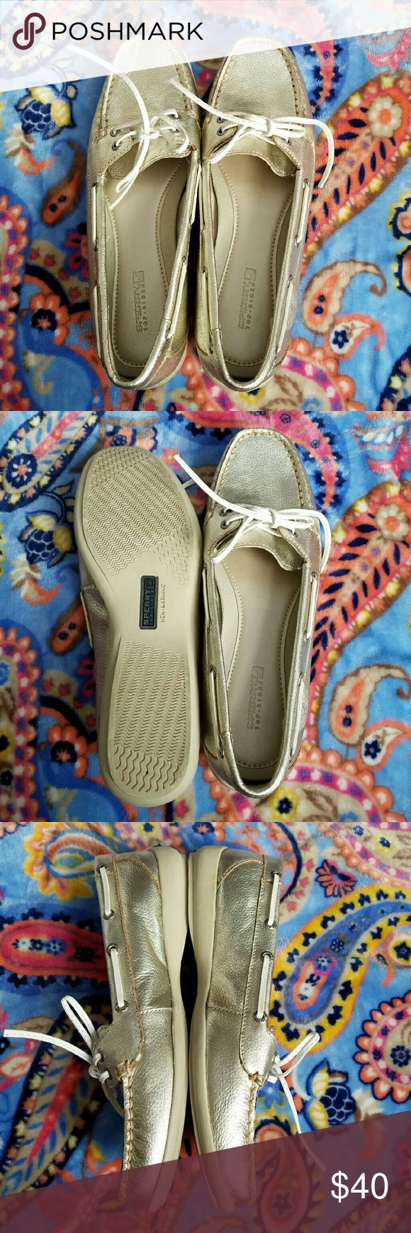 Gold Sperry Top-Siders EUC gold Sperry Top-Siders with white leather laces. Only worn once or twice. Spring is coming! Get a jump on your good weather footwear! Sperry Top-Sider Shoes