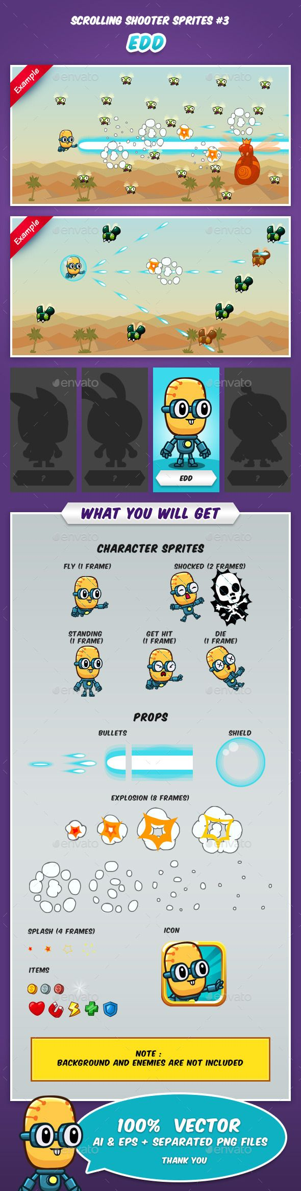Scrolling Shooter Game Sprites #3 — Vector EPS #game sprites #indie • Available here → https://graphicriver.net/item/scrolling-shooter-game-sprites-3/9016138?ref=pxcr