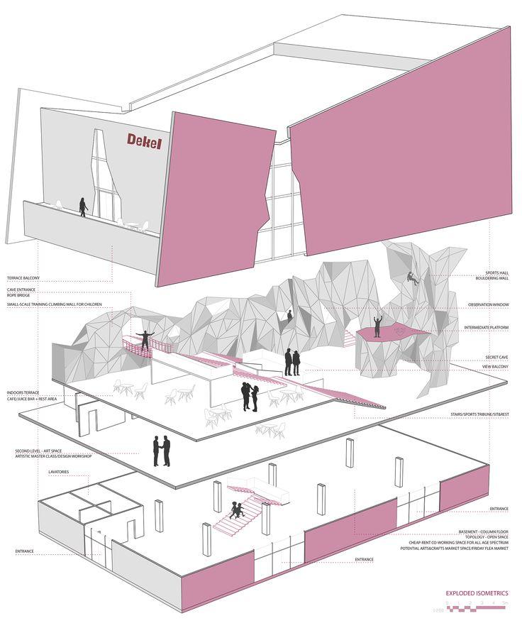 DEKEL commercial center proposal, Bavli district, Tel Aviv, Israel. Anna Kislitsina student project - 3rd year Shenkar College Interior, Building and Environment Design Architectural Program Scheme/Exploded Isometric