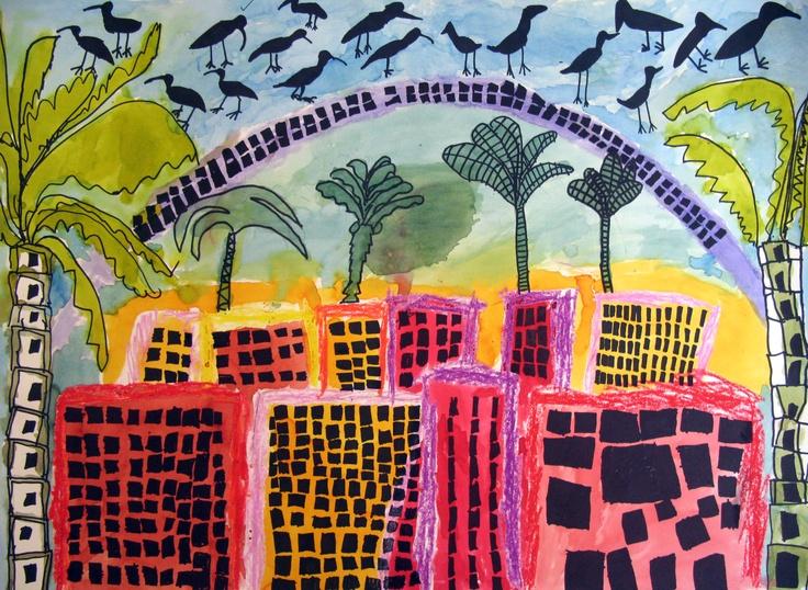 Houses, 6 year old children, with artist Britta Johanson