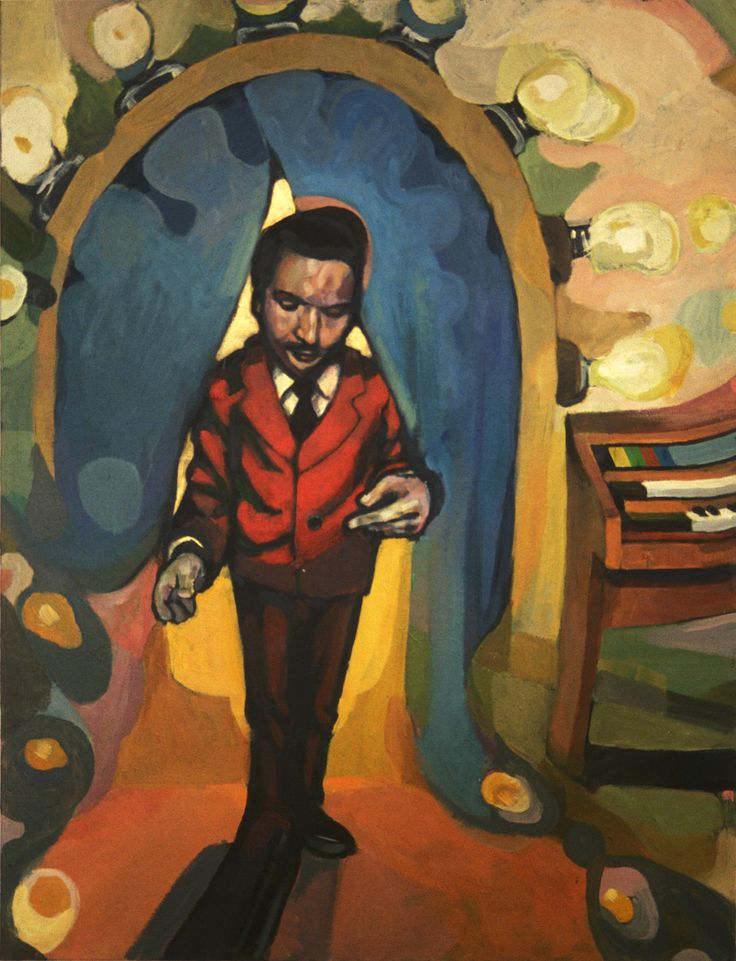 Painting, acrylic «magic show» #painting #acrylic #portrait #red #suit #houseorgan #illustration #dreamy #dream #magician