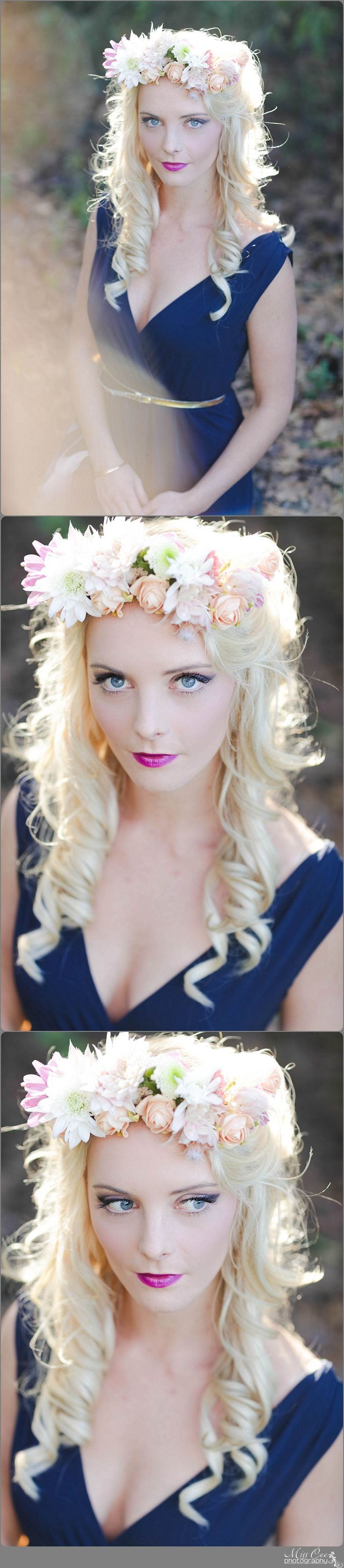 Dress, Long hair , Portrait , Girl Pose , Flowers , Make Up , Forest , Beauty Shoot , Floral Crown , Plum Lips