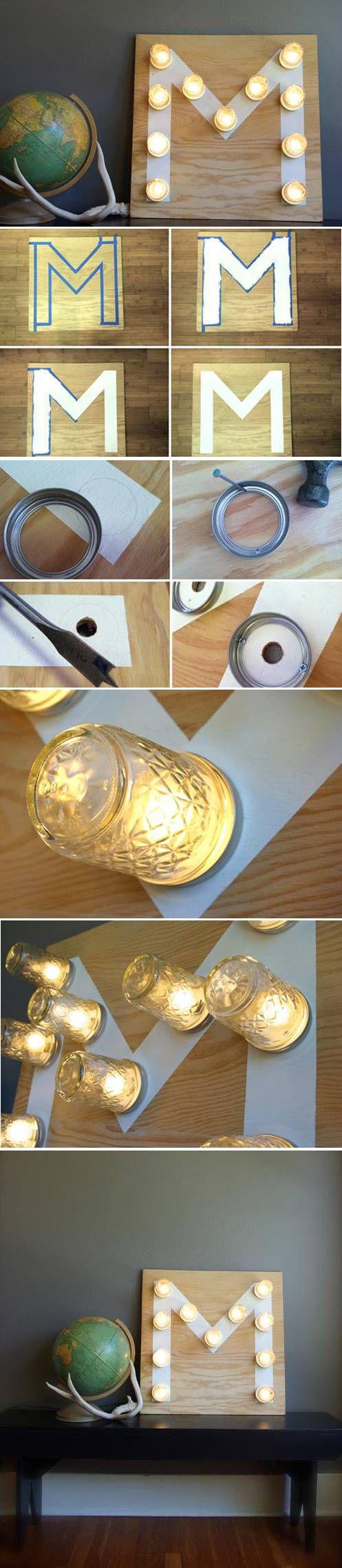 Olha só esse painel de luzes feito com vidros reciclados. Mega fácil!!!