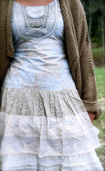 Modest, pretty blue white & grey dress