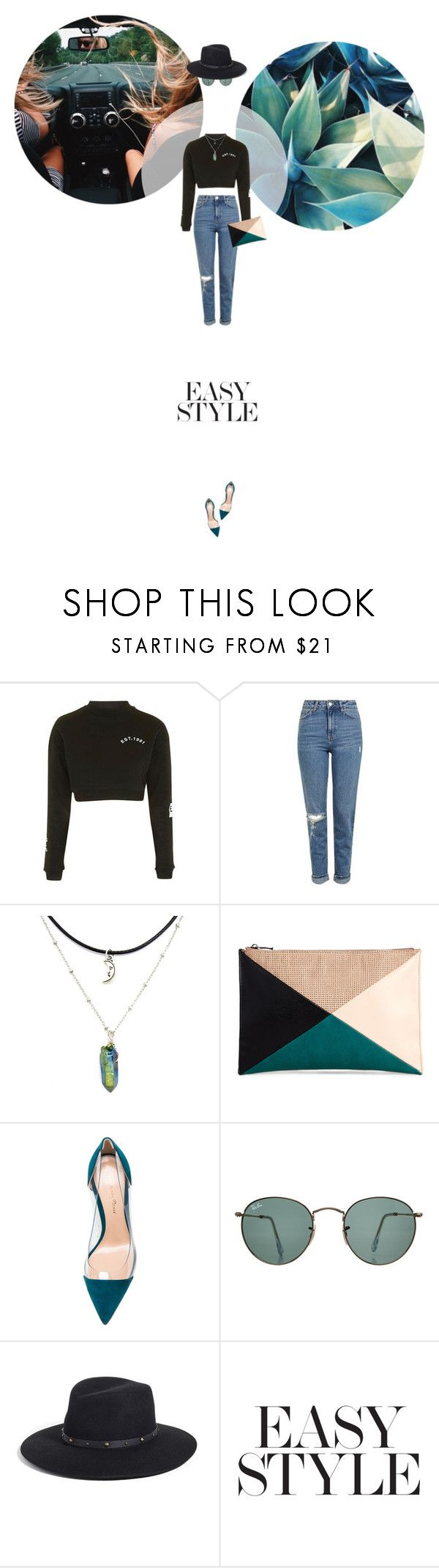 // 1296. Easy Style. by lilymcenvy on Polyvore featuring Topshop, Gianvito Rossi, Sole Society, Eric Javits and Ray-Ban
