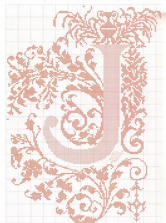 "cross stitch alphabet in 2 colors- very ornate monogram 26 single letters -- ""J'"" #10"