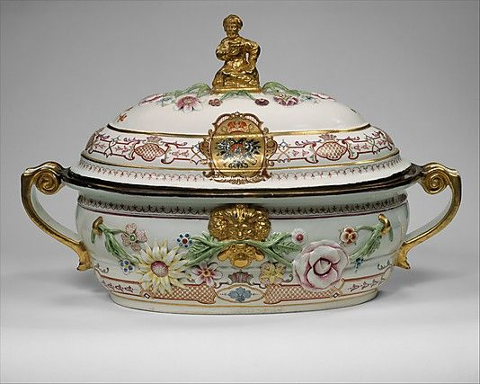 "1735 Austrian Tureen ""This tureen belongs to one of the most splendid services produced at the Du Paquier manufactory. It was owned by Czarina Anna Ivanovna (r. 1730–40), who may have received it as a diplomatic gift from Emperor Charles VI (r. 1711–40)."""