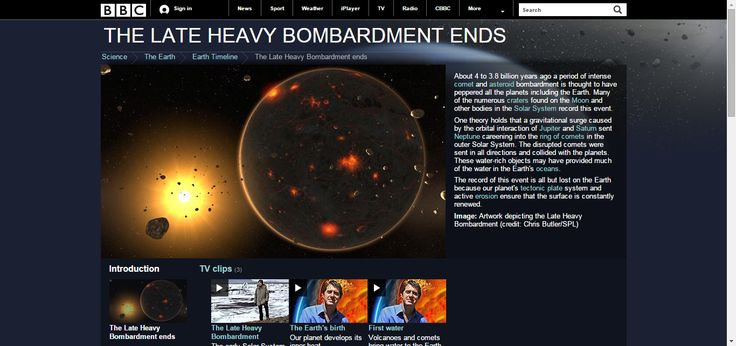 BBC Earth - Timeline - The Late Heavy Bombardment and the early Earth