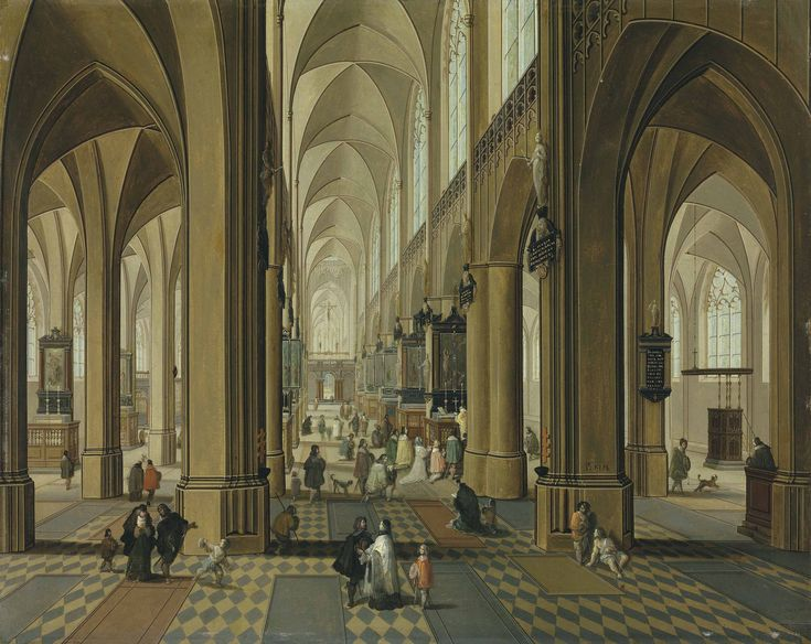 Pieter Neefs II (Antwerp 1620-after 1685) and Follower of Frans Francken II  The interior of the Cathedral of Our Lady, Antwerp